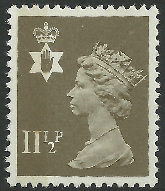 Ni 34 11 p drab side band northern ireland regional stamps Which side does a stamp go on