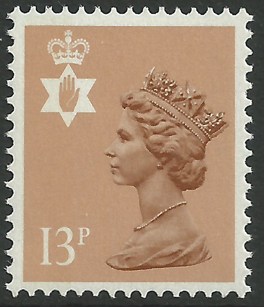 Ni 37ea 13p type ii pale chestnut side band northern Which side does a stamp go on