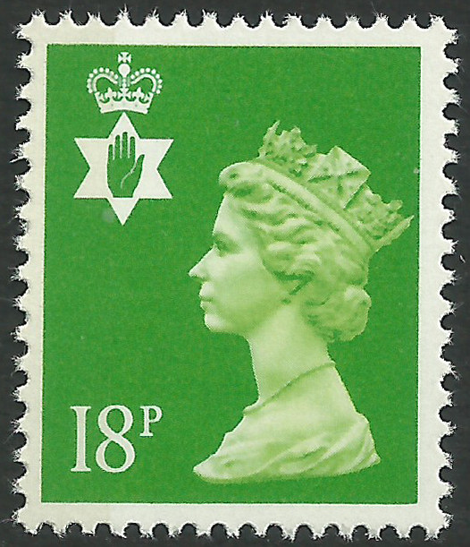 Ni 48 18p bright green side band northern ireland regional Which side does a stamp go on