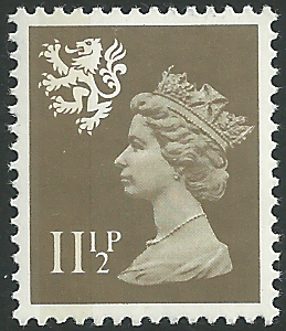 S36 11 p drab perf 14 litho side band scotland regional stamps Which side does a stamp go on