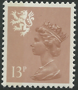S39 13p Pale Chestnut Type I Perf 14 Litho Side Band