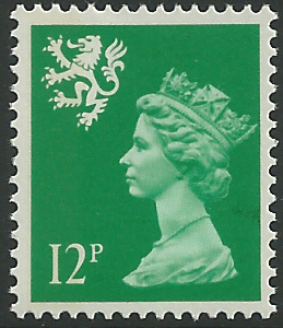 S52 12p bright emerald perf 15 litho side band scotland Which side does a stamp go on