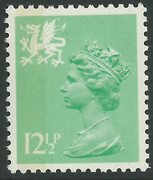 W37 12 p light emerald perf 14 side band wales regional stamps Which side does a stamp go on