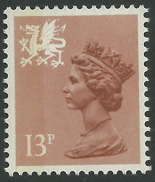 W38 13p Pale Chesnut Type I Side Band Wales Regional Stamps