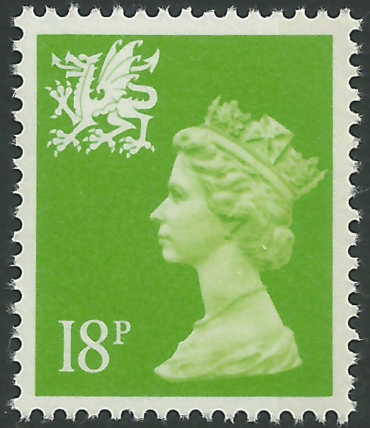 W49 18p bright green right band wales regional stamps Which side does a stamp go on