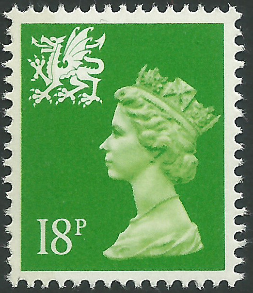 W49eb 18p Bright Green Left Band Wales Regional Stamps
