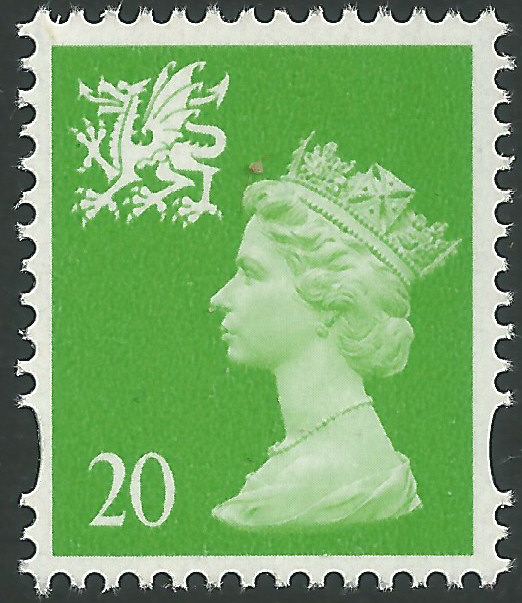 W79a 20p bright green side band wales regional stamps Which side does a stamp go on