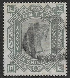 1867 SG128  Queen Victoria 10/-  Greenish Grey  Fine - Very Fine Used Stamp B-E