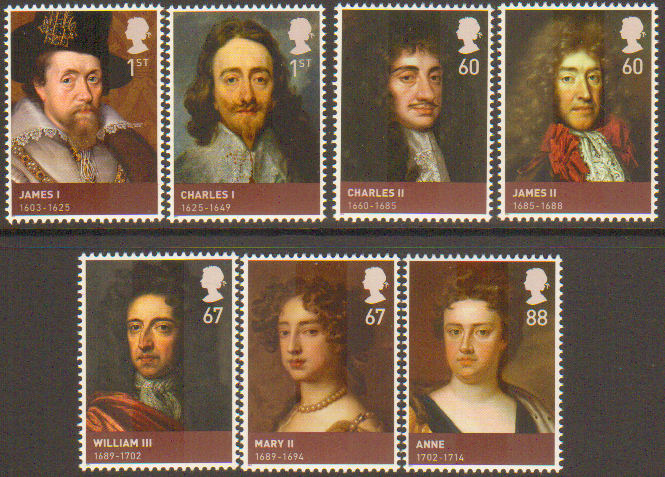 SG3087-3093 2010 Kings & Queens House of Stuart Stamp Set