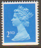 SG1445 2nd Class Bright Blue NVI Machin Stamp Imperf at Bottom Centre Band Harrison