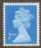 SG1446 2nd Class Bright Blue NVI Machin Stamp Right Band Harrison