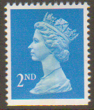 SG1449 2nd Class Bright Blue NVI Machin Stamp Imperf at Bottom Centre Band Walsall