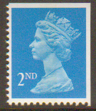 SG1449 2nd Class Bright Blue NVI Machin Stamp Imperf at Top & Right Centre Band Walsall