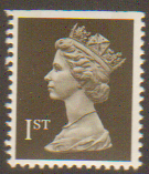 SG1450 1st Class Black NVI Machin Stamp Imperf at Top 2 Phosphor Bands Walsall
