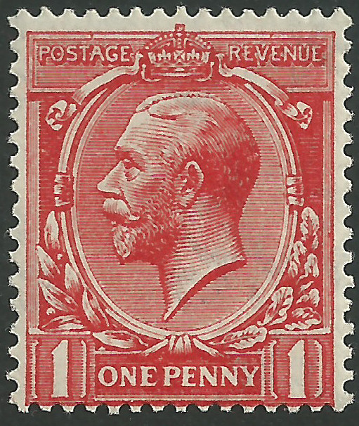 SG361 1d Scarlet Vermilion MOUNTED Mint King George V 1912 22 Royal Cypher Watermark Stamps